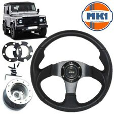 Land Rover Defender Black Motorsport Steering Wheel 48 Spline Boss Kit Horn