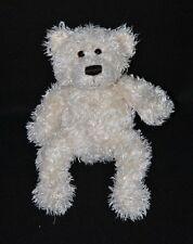 Peluche doudou ours GUND blanc nez brodé yeux durs 20 cm TTBE
