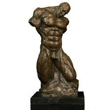 Art Deco Sculpture Abstract Muscle Man Broken Body Bronze Statue