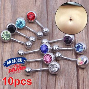 10x Bulk Set 316L Navel Surgical BELLY BAR Steel Button Body Piercing Titanium