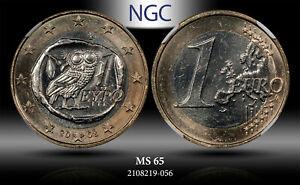 2008 GREECE 1 EURO NGC MS 65 HIGH GRADE ATHENIAN OWL