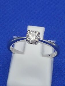18 Carat White Gold 0.25 Carat Solitaire Diamond Ring Size L 1.9g