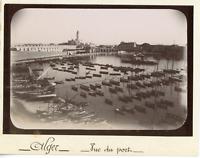 Algérie, Alger, vue panoramique sur le port  vintage citrate print, Tirage cit