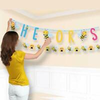 WHAT WILL IT BEE Banners Baby Shower Party Decorations Girl Boy Gender Reveal Be