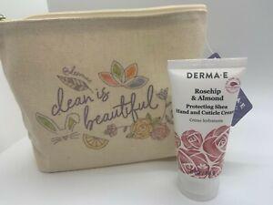 New Derma E Rosehip & Almond Shea Hand & Cuticle Cream 2oz & Bag!  Clean Beauty!