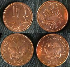 Papua New Guinea  -2 coins 1 + 2 Toea - 1995 - BU - KM# 1 + 2      Neuguinea