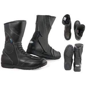 Boots Shoes Moto Scooter City Touring Waterproof Leather Black