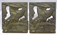 Vintage Pair Brass Folding Bookends Eagle on Branch Made in Hong Kong 1970s