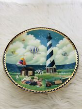 Limited Edition Picnic at Cape Hatteras Lighthouse plate By Kei Masuda 23Kt gold