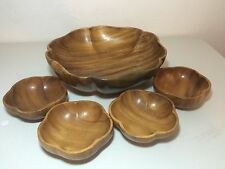 5 Piece Wooden Monkey Pod Salad Serving Set Bowls Retro Mid Century Flower
