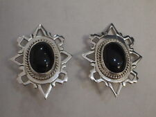 Mexico 925 TV-76 Silver with Onyx Gemstone Earrings/Clips