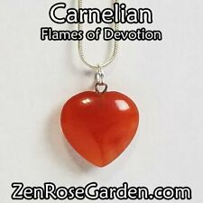 """Carnelian Small Heart Necklace, Crystal Heart Pendant Necklace 18"""""""