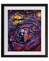 Jack Sally Jack and Sally Nightmare Before Christmas Starry Night Art Print A016