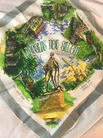 Vintage Tourist Souvenir Handkerchief ILLINOIS hanky LARGE SCARF