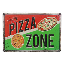 Pizza Zone Plate Vintage Tin Metal Signs Coffee Decor Art Wall Poster