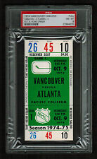 PSA 8 VANCOUVER 1974 Unused NHL Hockey Ticket for ATLANTA at Pacific Coliseum