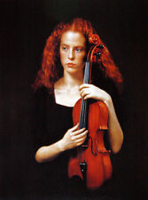 Art Oil painting portrait nice young woman holding violin - Violinist canvas