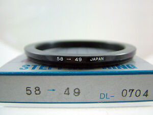 DOT LINE 58-49MM STEP-DOWN METAL CAMERA FILTER RING (NEW OLD STOCK)