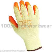12x Pairs Warrior Orange Work Safety Latex Rubber Grip Gloves Builders Gardening