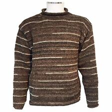 HIPPY BOHO CASUAL COSY HAND KNITTED MOTTLED BROWN CREW NECK JUMPER