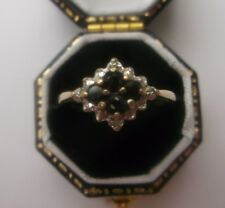 Women's Vintage Gold Ring Sapphire & Diamonds Size K 1//2 Weight 1.2g Stamped