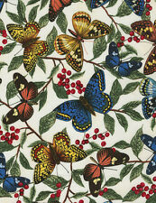 Timeless Treasures Butterflies & Leaves Cream 100% cotton fabric by the yard