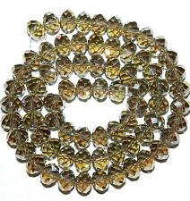 """CR659L2 Black Diamond AB 10x8mm Rondelle Faceted Cut Crystal Glass Beads 22"""""""