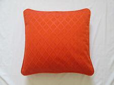 "Embroidered Piped Faux Silk Square Diamond Cushion Cover Orange  18"""