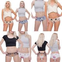 Fashion Womens Girls Soft Cotton Cute 3D Printing Ears Underwear Panties Briefs