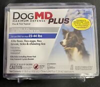 DogMD Plus Maximum Defense Dog 23-44 lbs Flea & Tick 3 Mo Supply New Ships Free