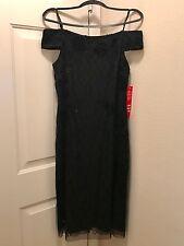 Adrianna Papell Black Velvet Beaded Evening Shoulder  Dress Sz 12 NWT $299