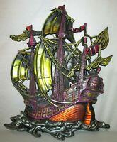 "Vintage 50's/60's 26"" Metal Multi-Color Schooner Pirate Ship Heavy Wall Hanging"