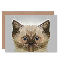 Cat Illustration Persian Kitten Card With Envelope