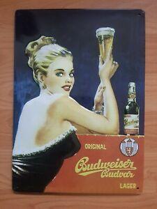 Blechschild Budweiser Bier Nr.1 Frau Sexy Bild Pin Up Schild Deko Bar Küche