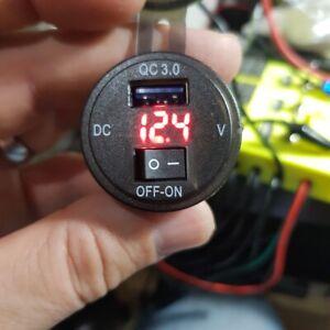 PRESA USB3.0 MOTO AUTO DA INCASSO NERO CON INTERRUTTORE E VOLTMETRO IMPERMIABILE