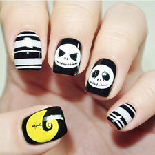 NEW 24pcs 3d Halloween Skull Cool Style Short False Fake Nails Art Tip Stickers