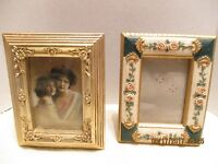 2 Sm. Resin Gold Ivory Green Raised Flowers Rectangular Photo Frames With Glass