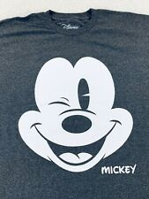 Disney Mickey Mouse Wink Smile Logo Graphic T Shirt Gray Mens Size XL New