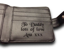 Men's Personalised Engraved Quality Leather Wallet Fathers Day Gift Dad Daddy