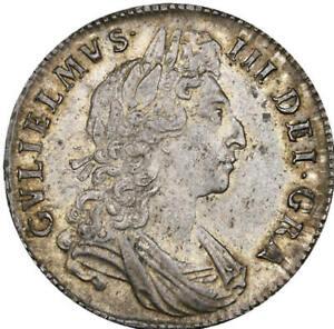 1698 William III Silver Half Crown Decimo Edge NGC MS 62