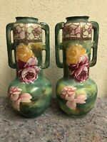 Pair of Antique Floral Vases - Asian? - Unsigned