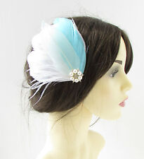White Mint Green Blue Silver Feather Fascinator Hair Clip Bridal Bridal Vtg 323