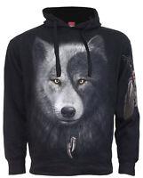 Spiral Direct WOLF CHI - Side Pocket Hoodie Black Mystical/Native American/Yin