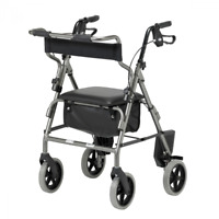 2 in 1 Rollator Lightweight Folding Wheelchair Walking Aid - Silver or Red