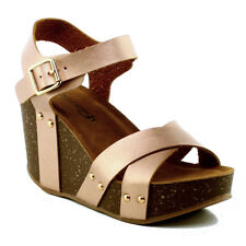 7b829cd8cabb REFRESH Mara-05 Women s Ankle Strap Comfort Criss Cross Platform Wedge  Sandal Rosegold 7.5
