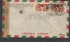 Mexico Dec 1944 Wwii censor 6948 cover Warner Brothers Films to J J Glynn Ny