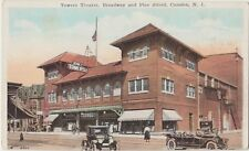 CAMDEN New Jersey USA Towers Theatre Pine Street CARS Vintage Colour PC c1920s