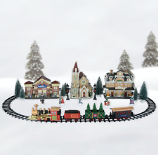 Holiday Time Train Set Christmas Village Battery Operated 15 Piece Set In Hand
