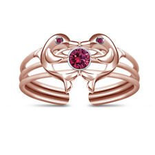 Dolphin Adjustable Toe Ring For Women's 14K Rose Gold Finish Pink Sapphire Two