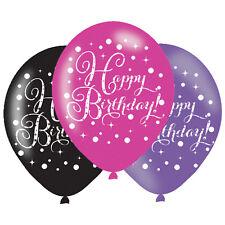 "Happy Birthday 11"" Latex Balloons Pink Purple Black Triple Colour Pack of 6"